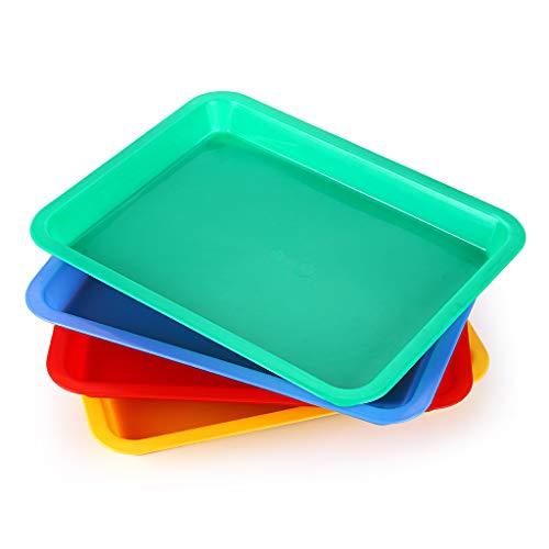 Sumnacon Kunststoff-Tablett in 4 Farben, Schreibtisch-Zubehör, Organizer, Platten für Kunst und Handwerk, Blau / Rot / Gelb / Grün