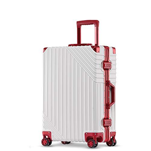 YINGZU Reisegepäck Aluminiumrahmen Mode erweiterbare Gepäck mit Spinner Wheels PC Shell Anti-Scratch-Trolley für Reisebranche, Unisex,White,29inches