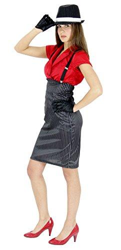 Foxxeo 20er Jahre Gangster Braut Kostüm für Damen bestehend aus Bluse Rock Hosenträger und Handschuhen Größe M