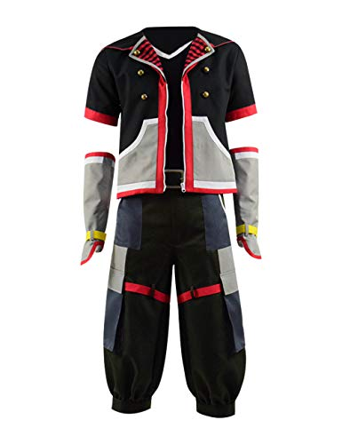 Qian Qian Herren Sora Kostüm Cosplay Jacke Hosen Gürtel Halloween Outfits (S, Schwarz 1)