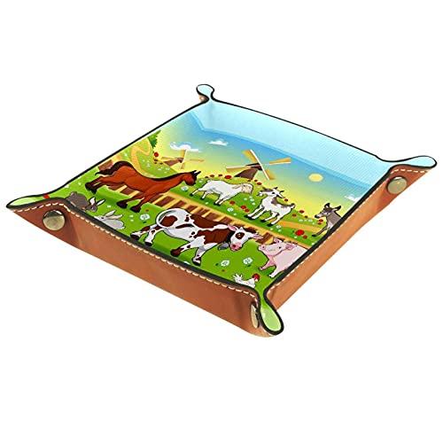 Bandeja de cuero para guardar joyas, bandeja de dados, bandeja de noche, para cambio de moneda, reloj y soporte para caramelos, bandeja de entrada, diseño de animales de granja