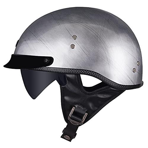 LILIXINGSH Casco Moto Abierto Casco Moto Abierto, Retro Cascos Moto Half Helmet con Visera, Casco Moto Jet Hombre Mujer para Scooter Mofa Crash, ECE Homologado (Color : A, Size : M(57-58CM))