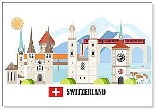 Imán para nevera, diseño de lugares de interés de Suiza