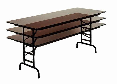 "Correll CFA3096M 01 Melamine Adjustable Height Top Folding Table, Rectangular, 30"" Width x 96"" Length x 22"" to 32"" Height, Walnut"