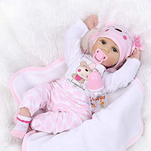 ZIYIUI Lebensecht Reborn Baby Doll Puppen Silikon Mädchen WiederGeboren Babypuppen Rosa Bär Outfit Toddler Babies Kinder Spielzeug 22 Zoll 55 cm