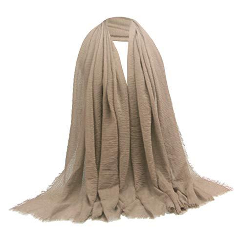 harayaa Elegante Y Cómodo Algodón Mujer Bufanda Hijab Mantón Turbante Cabeza - Marrón claro, Los 90x180cm