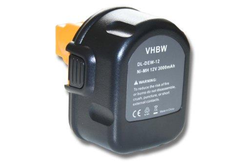 Vhbw NiMH Batteria 3000MAh (12V) Per Strumenti Attrezzi Utensili Da Lavoro Dewalt 2802K, 2812B, 2812K, 2832K, 2852B, 2861K-2 Come A9252, SL1 3YD