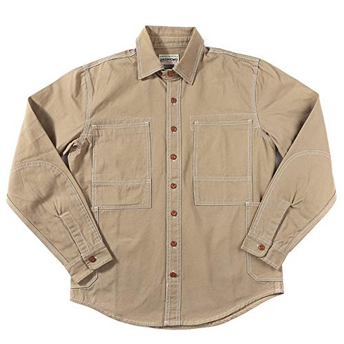 Camisa de Manga Larga para Hombre Color sólido Simple a Rayas con Bolsillos Camisa de Mezclilla de Manga Larga de Colores primarios Camisa de Trabajo de Lona M
