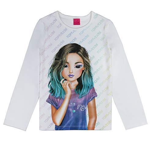 Top Model Mädchen T-Shirt, Langarmshirt, weiß, Größe 140, 10 Jahre