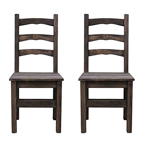 Elean 2 er Set Esszimmerstuhl (HSL-01) Holzstuhl Kuechenstuhl Kiefer massiv Stuhl mit Lehne zusammengebaut 14 Farbvarianten (Ebenholz lasiert)