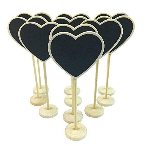 MCUILEE MINI Corazón pizarrón pizarra tablón WordPad de mensajes de madera con soporte de la boda lugar etiqueta de la tarjeta número/tarjeta de lugar el establecimiento de decoración, juego de 10