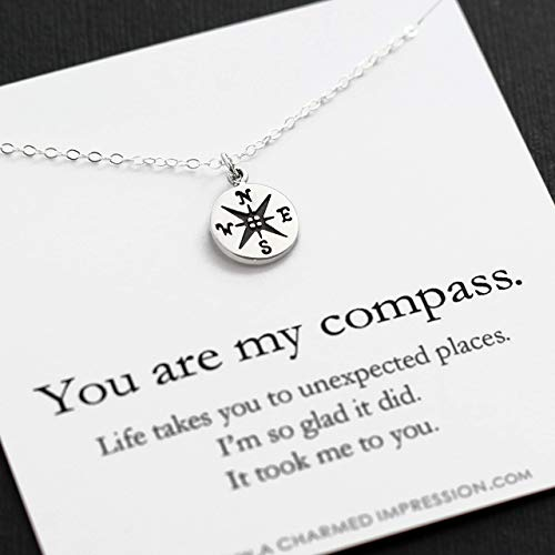 Gift for Wife Girlfriend Best Friend • You are my Compass • I'd be Lost Without You • Personalized Sterling Silver Charm Necklace • Handmade Handcrafted • Anniversary Birthday Christmas