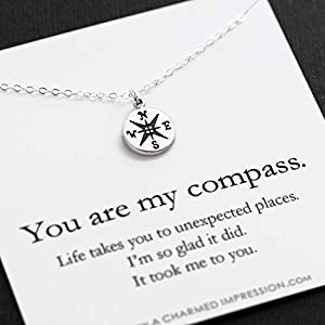 You are my Compass • I'd be Lost Without You • Personalized Sterling Silver Charm Necklace • Unique Handcrafted Gift for…