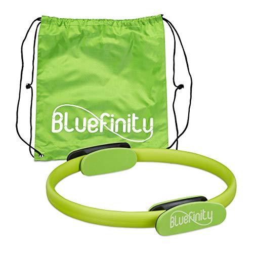 Bluefinity Anello da Pilates con Esercizi, Doppia Impugnatura, Imbottito, Ø 37cm, Fitness Ring, Allenamenti Yoga, Verde