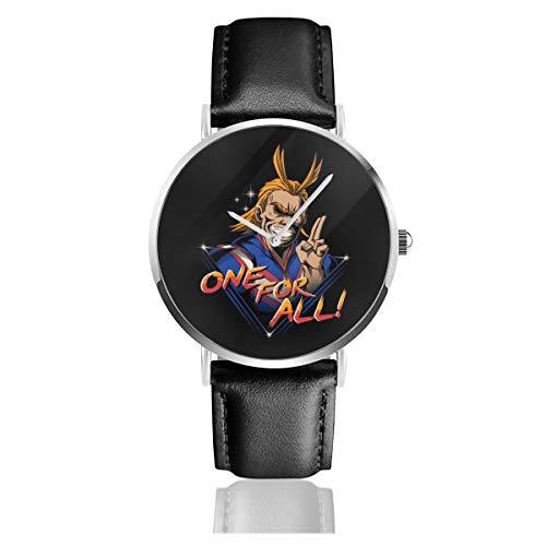 Unisex Business Casual Boku No Hero Toshinori Yagi Rad One für alle Retro 80er Jahre Uhren Quarz Leder Armbanduhr mit schwarzem Lederband für Männer und Frauen Young Collection Geschenk