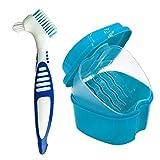 Naisicatar Dentadura Cleanning Conjunto Dental Box dentadura dentadura con Cepillo de Limpieza de la dentadura envase de la Caja Azul