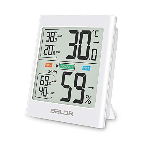 Hospaop Digitales Thermo-Hygrometer,Magnetismus Mini Innen Thermometer Hygrometer Temperatur und Luftfeuchtigkeitmessgerät mit Raumklima-Indikator für Raumklimakontrolle Raumluftüerwachtung (Weiß 2)
