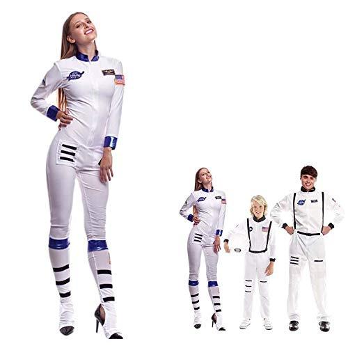 Disfraz Astronauta Adulto Mujer【Tallas Adultos de S a L】[Talla L] Traje Espacial Mono NASA Cuerpo Entero Disfraz Carnaval Hombre Profesiones Teatro Actuaciones Desfiles