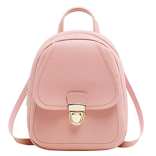 Gofodn Mini Girls Backpack Womens Small Simple Solid Double Zipper Personality Headphone Plug Metal Button Travel Shoulder Ladies Bags