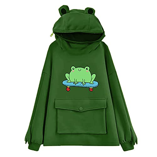 Women's/Girl's Cute Frog Hoodie Pullover Zipper Mouth Hooded Sweatshirt with Large Front Pocket Cosplay Costume Tops Army Green