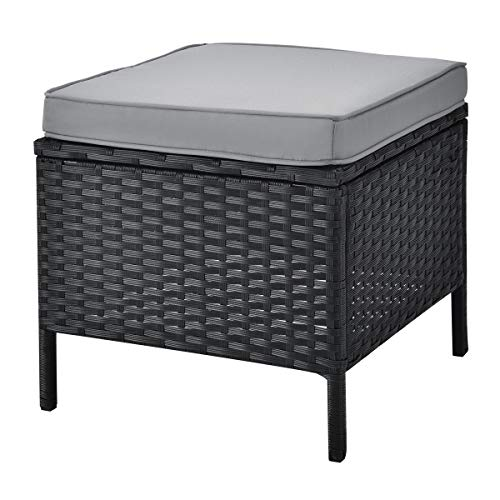 SVITA Monroe Polyrattan Ecksofa Rattan-Lounge Esstisch Gartenmöbel-Set Sofa Garnitur Couch-Eck (Lounge Set, Schwarz) - 6
