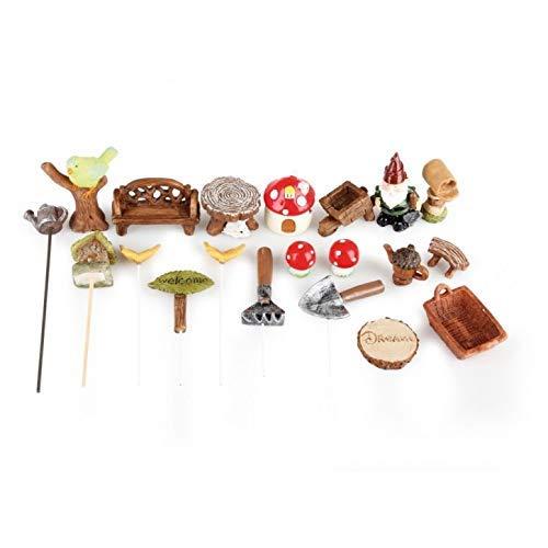 Hobbygroß Mini Garten Set, Zwerge Polyresin, 1,5-4,5/0,3-12 cm, 20 - teilig, Sortiert