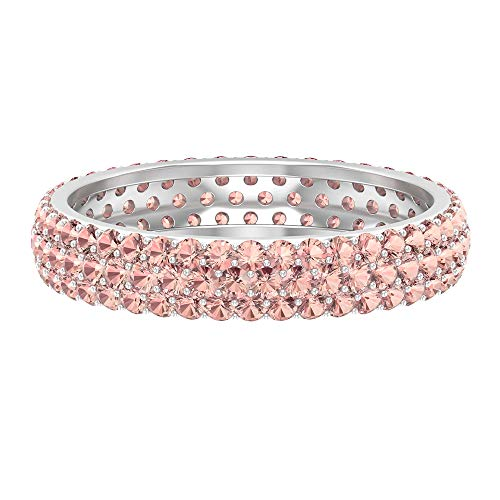 Thick Wedding Ring, 1.6 CT Lab Created Morganite Ring, Pink Gemstone Cluster Ring, Unique Anniversary Ring, Bridal Statement Ring, Stacking Ring, White Gold, Morganite Lab Created, Size:UK T1/2