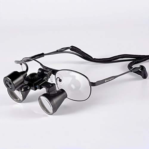 Songzi Optics 2.5X 3X 3.5X Optional Titanium Frame Binocular Dental Surgical Loupes with Led Headlight (Working Distance :(360-460 mm) R, Magnification:2.5X)