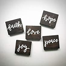 CELYCASY Custom Wood Desktop Signs - 3.5x3.5 Square Wood Ornaments - Wreathe Signs - Pray - Hope - Love - Peace - Joy - Faith - Wood Saying Planks