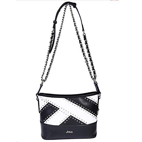 Xxw lamp vrouwen tas 2018 nieuwe Messenger tas schouder Messenger tas vrouwelijke zwart en wit kleur bijpassende lederen handtas