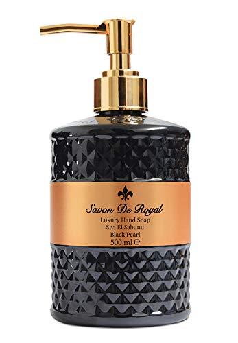 Savon De Royal Black Pearl Liquid Hand Soap - Liquid Hand Wash, Multi Purpose Liquid Soap in Pump Dispenser, Sweet Orange Scent, 16.9 fl oz
