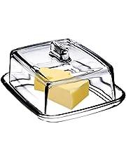 KADAX Mantequillera de cristal, tapa rectangular, recipiente clásico con tapa, recipiente para mantequilla, apto para lavavajillas, transparente