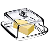 KADAX Butterdose aus Glas, rechteckige Butterglocke, klare Butterschale mit Deckel und Griff, Butterbehälter, Butterschatz, Butterglas, spülmaschinenfest (Transparent)