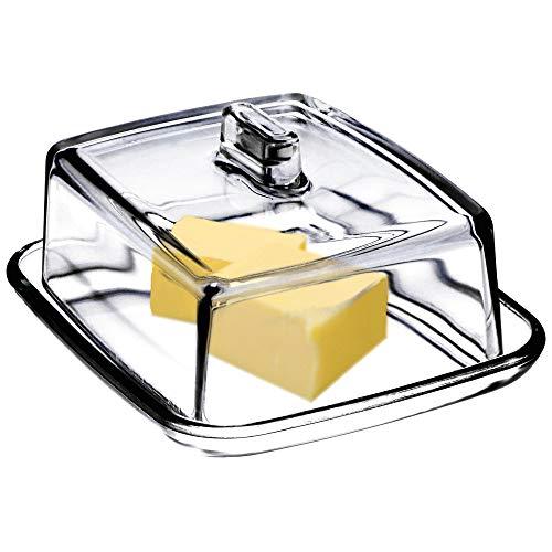 KADAX Butterdose aus Glas, rechteckige Butterglocke, Klassische Butterschale mit Deckel, Butterbehälter, Butterschatz, Spülmaschinenfest - Transparent