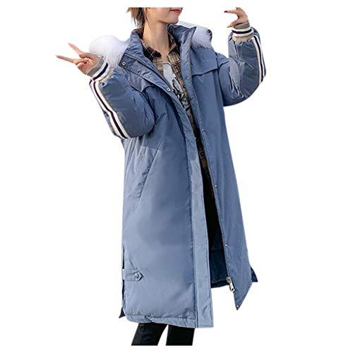 Alikeey Damesmode, warme winterjas, slank, lange mouwen, jas, XL(Größer empfehlen), blauw