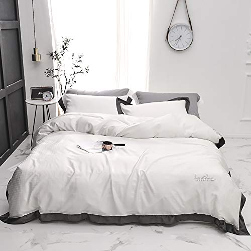 Bedding Set King Size Silk, Dedding Sets Double Size Bedding Set King Silk Luxury Duvet Covers with Fitted Sheet Silk Cotton Satin Bed Twin 4pcs