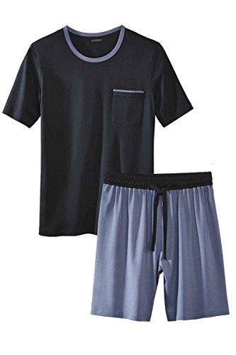Livergy Herren Pyjama/Shorty/Schlafanzug - 2-Teiler Navy - Hellblau L 52-54