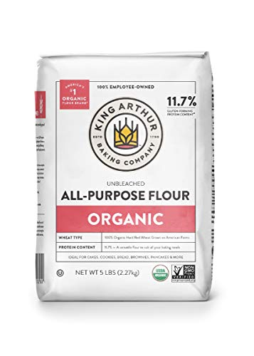 King Arthur, 100% Organic All-Purpose Flour Unbleached, Non-GMO Project Verified, No Preservatives, 5 Pounds (Pack of 6)