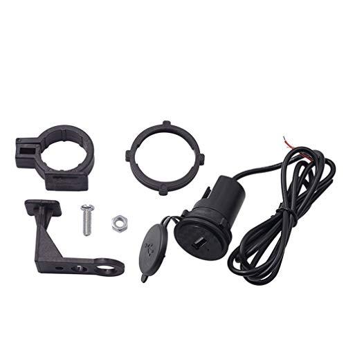 aixu Cargador De Teléfono Móvil De Motocicleta 12V Impermeable Coche USB Individual con Interruptor Negro