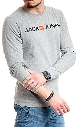 Jack and Jones Camiseta básica de manga larga de algodón para hombre Cuerpo gris claro XL