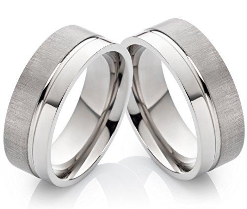 Eheringe Verlobungsringe Trauringe aus Titan 8mm ohne Stein und Ringe Gravur HT111