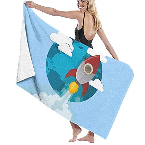 AZBYC Toallas de bañoToalla de baño Personalizada con Manta de Microfibra a Prueba de Arena Personalizada para baño, Piscina, Yoga, Pilates, Manta de Picnic Rocket