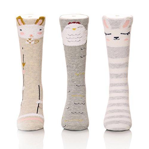 Color City Unisex Baby Girls Socks Toddler Knee High Socks - Cartoon Animal Warm Cotton Stockings (3 Pairs A)
