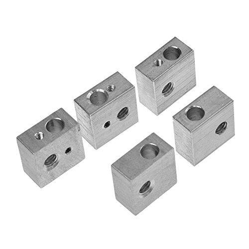 HICTOP - Set 5 blocchi riscaldanti M6 per estrusore hot end, in alluminio, specifico per stampante Makerbot Medel MK7 / MK8 / Medel I3 3D