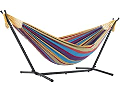 Vivere combo, the double hammock with stand and carry bag is our top choice for combos. The double hammock is tightly woven with high quality cotton thread resulting in a heavy, durable fabric. The hammock stand is constructed of heavy duty Steel and...