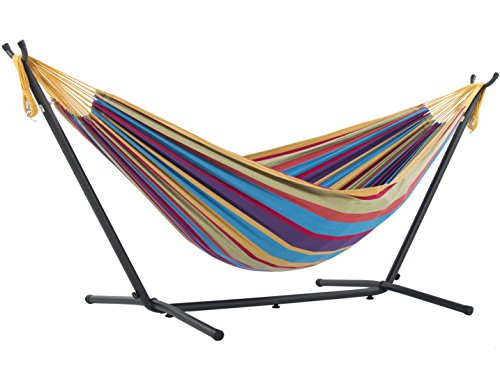 Vivere Double Cotton Hammock with Space Saving Steel Stand,...