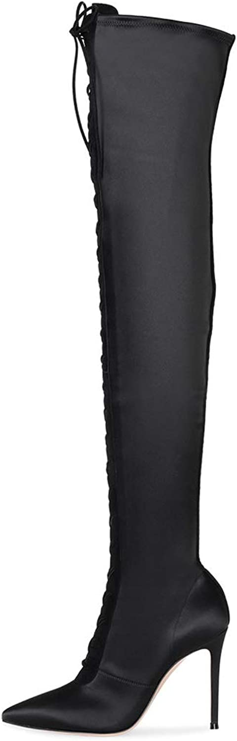 Long Boots Female, Pointed High Heel 'Lace' Long Tube Over The Knee Boots
