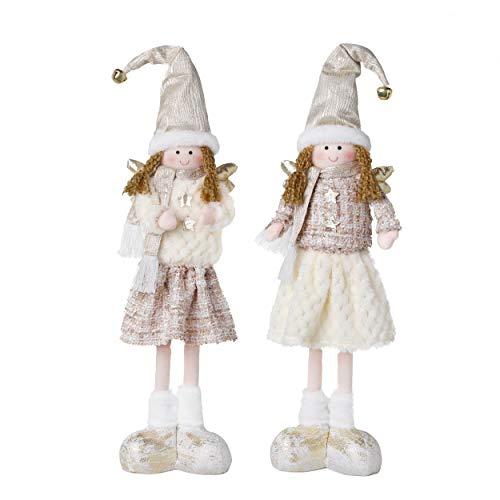 Valery Madelyn 2Pcs Adornos De Navidad Figuras Ángel, Decoraciones Muñeca de Navidad Ángel de Rosa Dorado, Figurillas de Fieltro Navideño