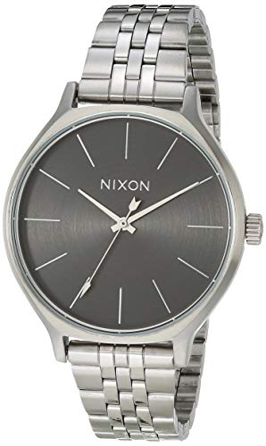 NIXON Clique A1249 - All Silver/Gray - 50m Water Resistant Women's Analog Classic Watch (38mm Watch Face, 17mm-15mm Stainless Steel Band)