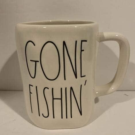 Rae Dunn Popularity GONE FISHIN Coffee Tea Fi latest - Mug Fishing Cocoa ivory